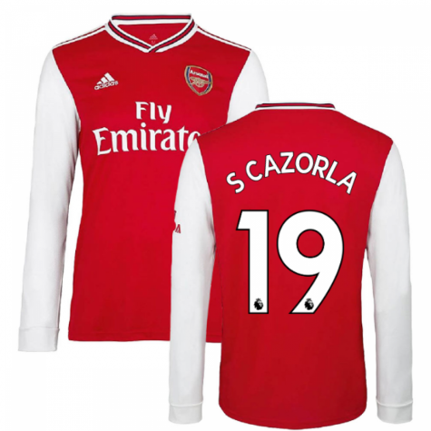 2019-2020 Arsenal Adidas Home Long Sleeve Shirt (S CAZORLA 19)