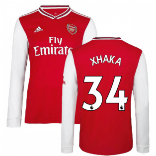 2019-2020 Arsenal Adidas Home Long Sleeve Shirt (XHAKA 34)