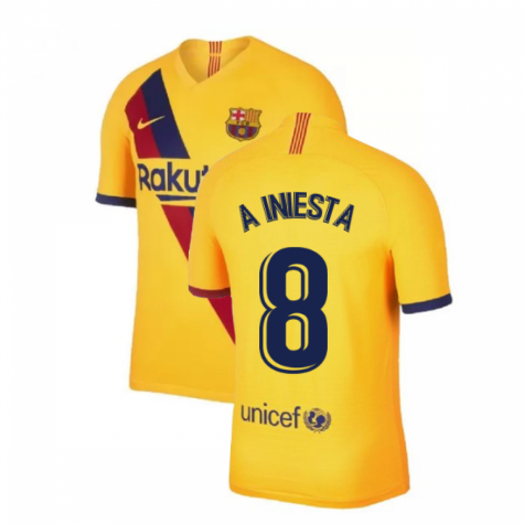 2019-2020 Barcelona Away Nike Football Shirt (A INIESTA 8)