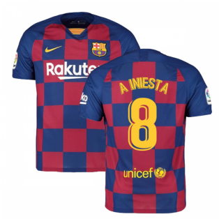2019-2020 Barcelona Home Nike Football Shirt (A INIESTA 8)