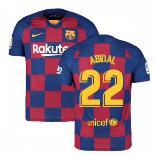 2019-2020 Barcelona Home Nike Football Shirt (ABIDAL 22)