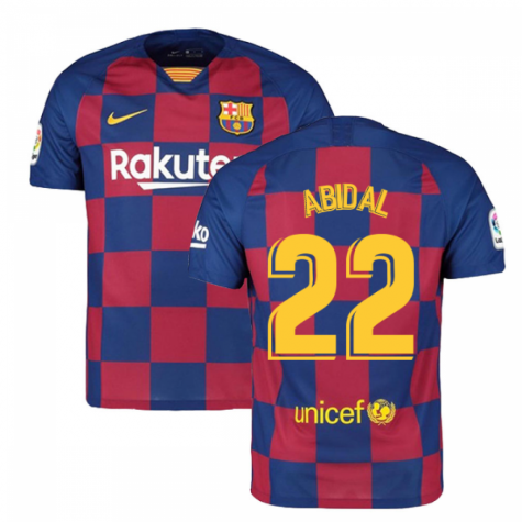 2019-2020 Barcelona Home Nike Football Shirt (ABIDAL 22)