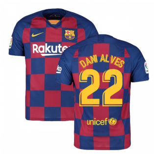 2019-2020 Barcelona Home Nike Football Shirt (DANI ALVES 22)
