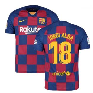 2019-2020 Barcelona Home Nike Football Shirt (JORDI ALBA 18)