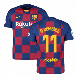 2019-2020 Barcelona Home Nike Football Shirt (O DEMBELE 11)