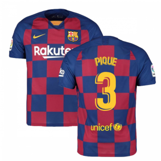 2019-2020 Barcelona Home Nike Football Shirt (PIQUE 3)