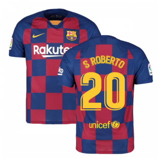2019-2020 Barcelona Home Nike Football Shirt (S ROBERTO 20)