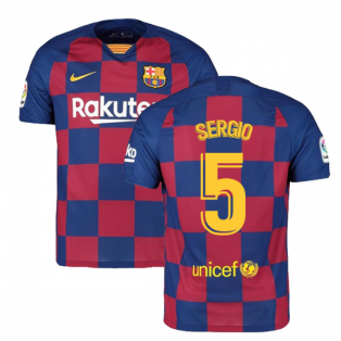 2019-2020 Barcelona Home Nike Football Shirt (SERGIO 5)