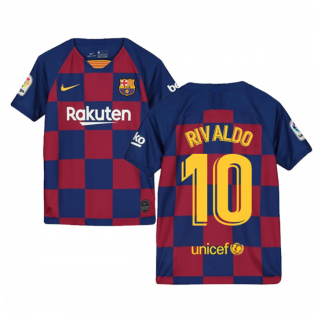 2019-2020 Barcelona Home Nike Shirt (Kids) (RIVALDO 10)