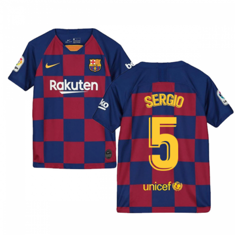 2019-2020 Barcelona Home Nike Shirt (Kids) (SERGIO 5)
