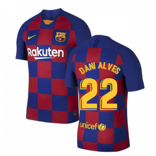 2019-2020 Barcelona Home Vapor Match Nike Shirt (Kids) (DANI ALVES 22)