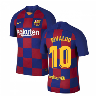2019-2020 Barcelona Home Vapor Match Nike Shirt (Kids) (RIVALDO 10)