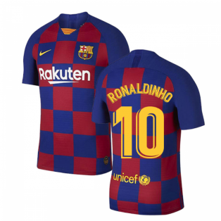 2019-2020 Barcelona Home Vapor Match Nike Shirt (Kids) (RONALDINHO 10)