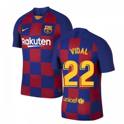 2019-2020 Barcelona Home Vapor Match Nike Shirt (Kids) (VIDAL 22)