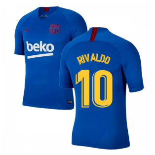 2019-2020 Barcelona Nike Training Shirt (Blue) - Kids (RIVALDO 10)