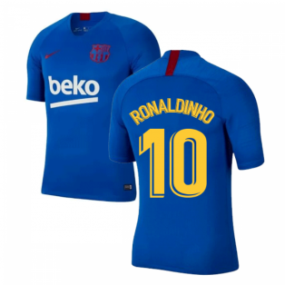 2019-2020 Barcelona Nike Training Shirt (Blue) - Kids (RONALDINHO 10)