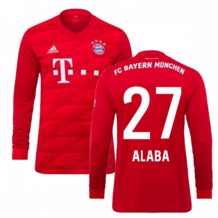 2019-2020 Bayern Munich Adidas Home Long Sleeve Shirt (ALABA 27)