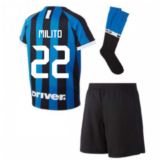 2019-2020 Inter Milan Home Nike Little Boys Mini Kit (MILITO 22)