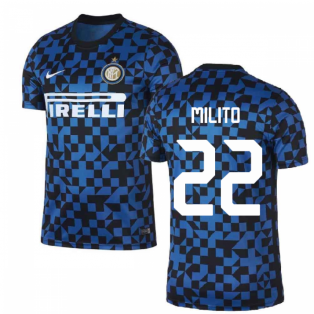 2019-2020 Inter Milan Nike Pre-Match Training Shirt (Blue) (MILITO 22)