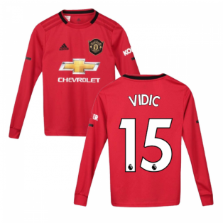 2019-2020 Man Utd Adidas Home Long Sleeve Shirt (Kids) (VIDIC 15)