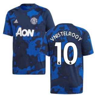2019-2020 Man Utd Adidas Pre-Match Training Shirt (Mystery Ink) - Kids (V.NISTELROOY 10)