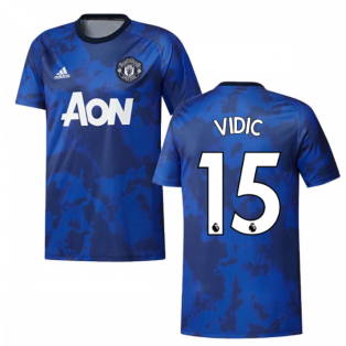 2019-2020 Man Utd Adidas Pre-Match Training Shirt (Mystery Ink) (VIDIC 15)