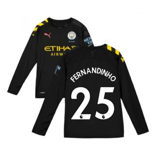 2019-2020 Manchester City Puma Away Long Sleeve Shirt (Kids) (FERNANDINHO 25)