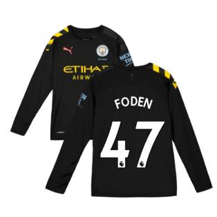 2019-2020 Manchester City Puma Away Long Sleeve Shirt (Kids) (FODEN 47)