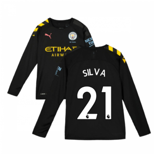 2019-2020 Manchester City Puma Away Long Sleeve Shirt (Kids) (SILVA 21)