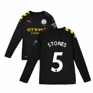 2019-2020 Manchester City Puma Away Long Sleeve Shirt (Kids) (STONES 5)