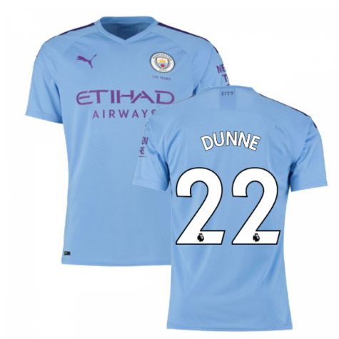 2019-2020 Manchester City Puma Home Authentic Football Shirt (DUNNE 22)