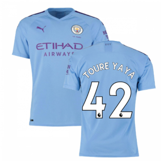 2019-2020 Manchester City Puma Home Authentic Football Shirt (TOURE YAYA 42)