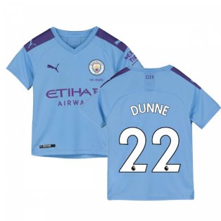2019-2020 Manchester City Puma Home Football Shirt (Kids) (DUNNE 22)
