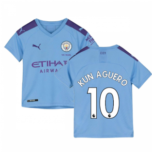 2019-2020 Manchester City Puma Home Football Shirt (Kids) (KUN AGUERO 10)