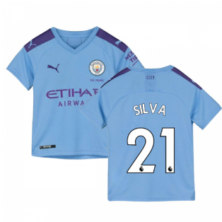 2019-2020 Manchester City Puma Home Football Shirt (Kids) (SILVA 21)