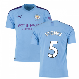 2019-2020 Manchester City Puma Home Football Shirt (STONES 5)