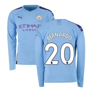 2019-2020 Manchester City Puma Home Long Sleeve Shirt (BERNARDO 20)