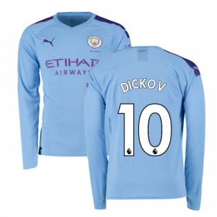 2019-2020 Manchester City Puma Home Long Sleeve Shirt (DICKOV 10)