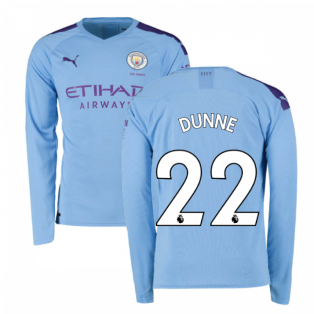 2019-2020 Manchester City Puma Home Long Sleeve Shirt (DUNNE 22)