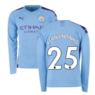2019-2020 Manchester City Puma Home Long Sleeve Shirt (FERNANDINHO 25)