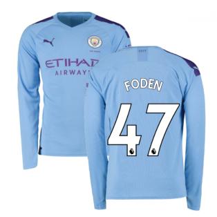 2019-2020 Manchester City Puma Home Long Sleeve Shirt (FODEN 47)