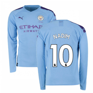 2019-2020 Manchester City Puma Home Long Sleeve Shirt (Nadim 10)