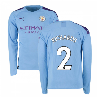 2019-2020 Manchester City Puma Home Long Sleeve Shirt (RICHARDS 2)