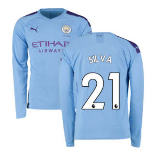 2019-2020 Manchester City Puma Home Long Sleeve Shirt (SILVA 21)