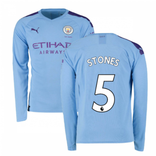 2019-2020 Manchester City Puma Home Long Sleeve Shirt (STONES 5)