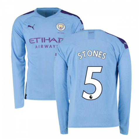 2019-2020 Manchester City Puma Home Long Sleeve Shirt (STONES 5)
