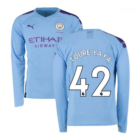 2019-2020 Manchester City Puma Home Long Sleeve Shirt (TOURE YAYA 42)