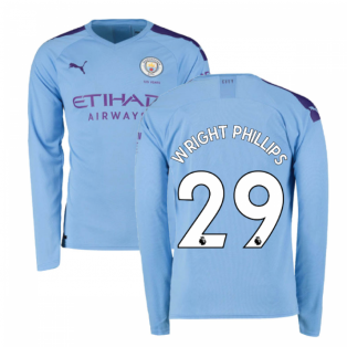 2019-2020 Manchester City Puma Home Long Sleeve Shirt (WRIGHT PHILLIPS 29)