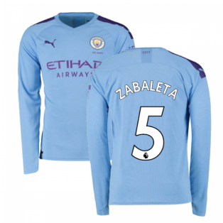 2019-2020 Manchester City Puma Home Long Sleeve Shirt (ZABALETA 5)