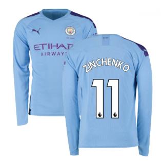 2019-2020 Manchester City Puma Home Long Sleeve Shirt (ZINCHENKO 11)